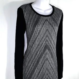 Mossimo Supply Co. Dresses - Black & Gray Chevron Long Sleeve Sweater Dress